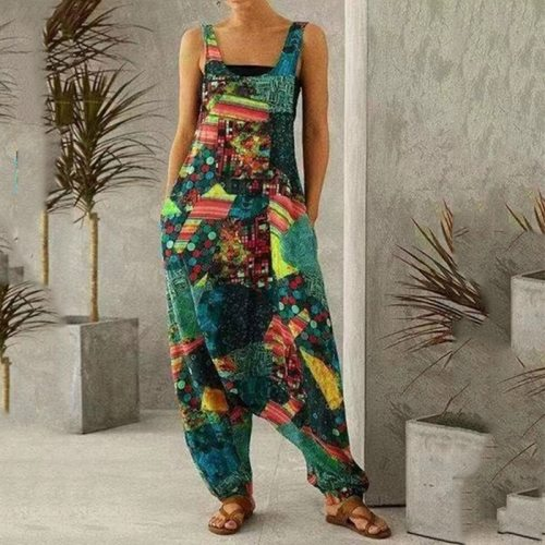 Summer Women Vintage Print Jumpsuits Fashion Sleeveless Pocket Loose Overalls 2021 Casual Cool Streetwear Colorful Playsuits 3XL