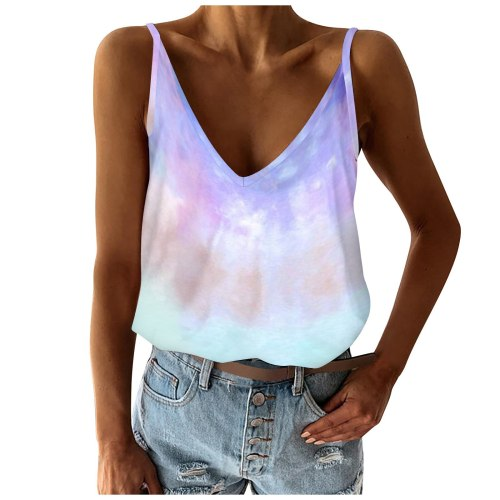 Womens Fashion Camisole Tie-Dye Loose Fit V Neck Sleeveless Color Block Camis Vest Stitching Tops Women Summer Camisole 2021