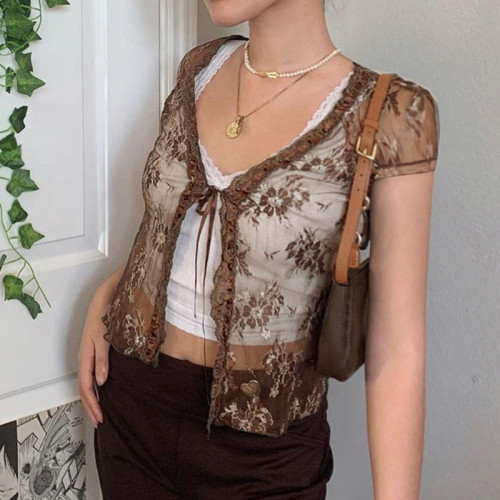 Y2K Fashion Brown Lace Bandage Crop Tops Vintage V-neck Short Sleeve T-shirts Transparent Streetwear Sweet Cute Outfits