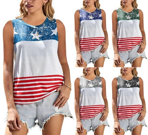 Loose T-shirts Women Jumpers Sleeveless Tops Woman Pullover female O-neck tank summer cotton stripe sexy cloth undershit AC0434