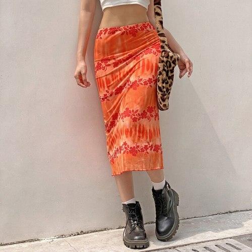 Women Long Skirt Summer Orange Floral Midi Skirt Y2K Boho Beach Skirts Female High Waist Fashion Skirts Tulle Sweet Jupe Femme