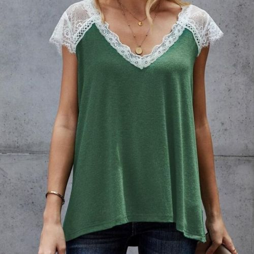 Lace Tank Top Women V-neck Sleeveless Tee 2021 Summer Loose Vest Casual Soft Tanks Sexy V Neck Tee For Women Lace Top Lady wear