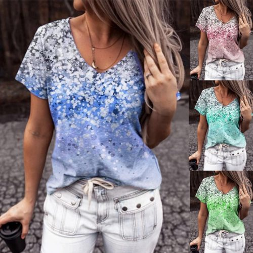 Women's Short Sleeved Top Summer Gradient Digital Printing V Neck T Shirt Casual Loose Plus Size Women's Clothing