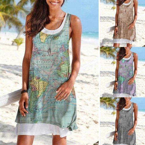 Summer Printed Dress Sleeveless Slim Fake Two Piece Stacked Ruffled Dress Hedging Round Neck Sleeveless Casual Mid-length Dress