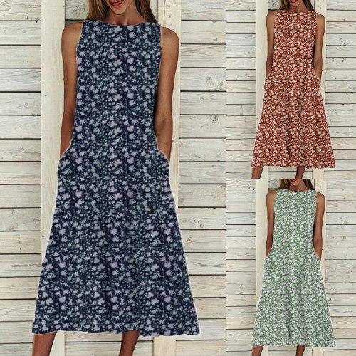 Vintage Floral Printed A-Line Big Swing Pocket Maxi Dress Women 2021 Summer Short Sleeve Party Dress Spring  Casual Dresses