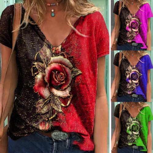 Summer Casual V-neck Multicolor Rose Print Short-sleeved Loose T-shirt 2021 Fashion Street Hipster Pullover T-shirt Female S-5XL