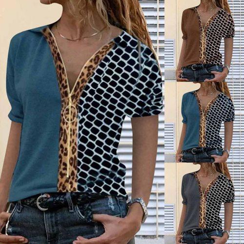 Fashion Women's Leopard Print Hit Color Zipper Short-sleeved Shirt Slim Casual Summer Street Fashion Cotton Women's Tops T-shirt
