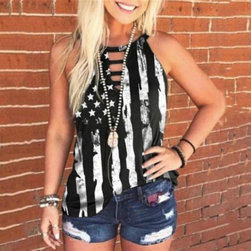 Hollow Out Women Tank Top Summer Sleeveless American Flag Print Tees Sexy Tanks Casual Loose Female Plus Size Tops Streetwear