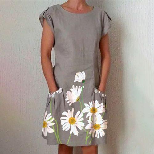 Fashion Women Loose Dress Loose Sunflower Print Short Sleeves Pocket O-neck Casual Summer Dress Vestidos Beach Dresses Femme