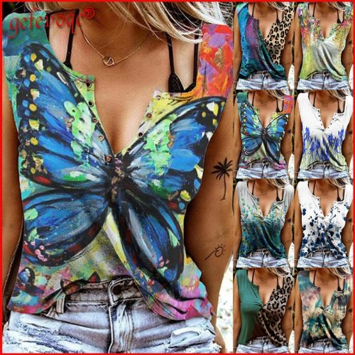 2021 Trending Summer Clothes for Women Sexy Leopard Print V Neck Sleeveless T Shirt Harajuku Streetwear Vest Tank Tops Camisole