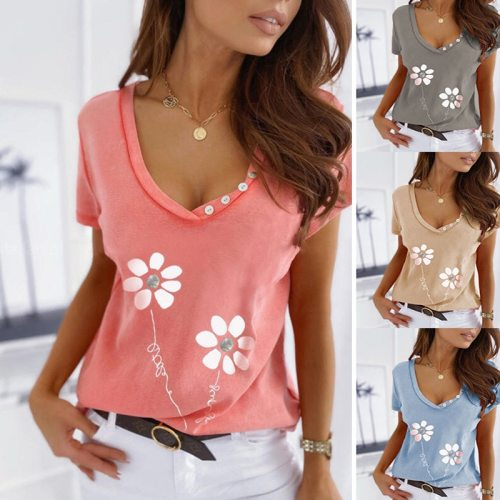 Summer Women's Loose Casual Tops Solid Color Printing V-neck Short-sleeved T-shirt for Women Fashion Cotton Plus Size Clothing