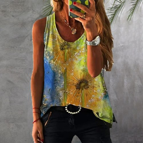 Summer Loose Round Neck Printing Tie-dye Colorful Sleeveless T-shirt Leisure Vacation Style Personality Cool Dyeing Women's Tops