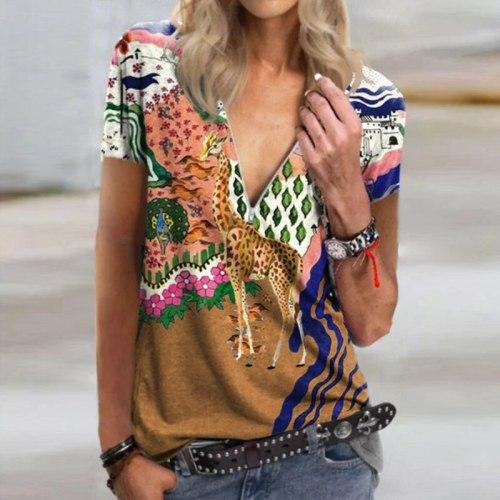 Women's V-neck Giraffe Print Short Sleeve T-shirt Tops Stitching Hedging Casual Women's Clothing  2021 Women Fashion Clothing