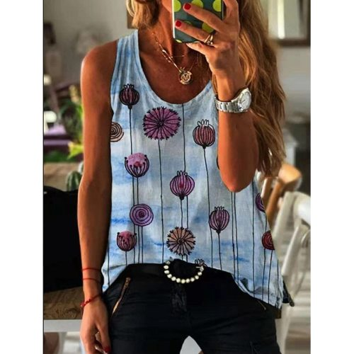 Tank Tops Women V Neck Print Vest Summer Ladies Shirts Slim Fit Polyester Sleeveless Tops Tshirts Casual Loose Summer Tops
