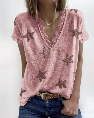2021 New V-neck T-Shirt Fashion Star Printed Short Sleeve Sexy Lace Casual Basic Tees Female Summer Plus Size S-5XL Clothes Tops