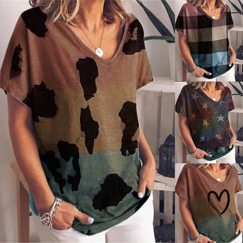 2021 Womens Fashion Gradient Color Printing Short-sleeved T-shirt Ladies Casual Large Size Loose T-shirt Daily blusas y camisas