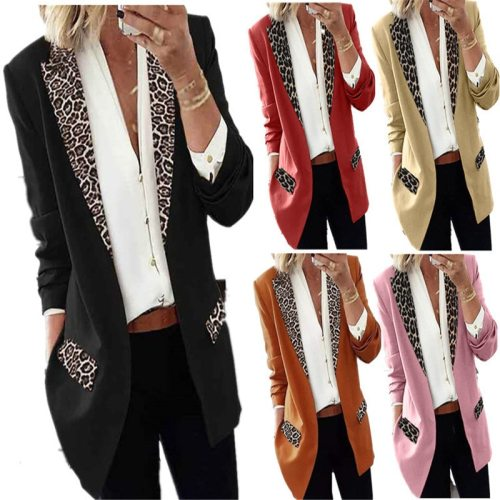 2021 Cross-border Women's European And American Fall/winter Casual Fashion Leopard Print Long-sleeved Small Suit Jacket Women