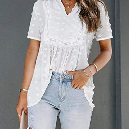 Women Summer Loose T Shirt Fashion Adults Casual Short Sleeve V-neck Tops with Pom Poms Black/Pink/White/Blue
