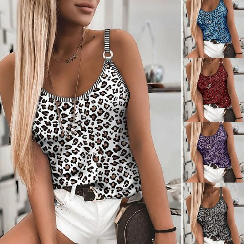 Summer Fashion Women's Leopard Camouflage Print Sexy Stretch Camisole Slim Casual Sleeveless Sexy Camisole Tops Plus Size