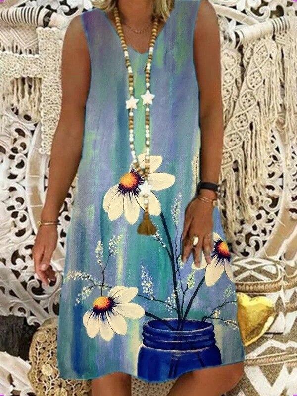 Women's Summer Flower Printing Strap Dress Vintage Loose Plus Size V-Neck Sleeveless Dress Vestidos Women Beach Sundress