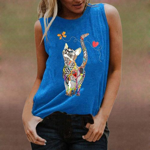 Women's Sleeveless Cat Print Tank Top Loose Casual Street T-shirt Sports Running Unisex Top Fashion Street Trendy Pullover Vest