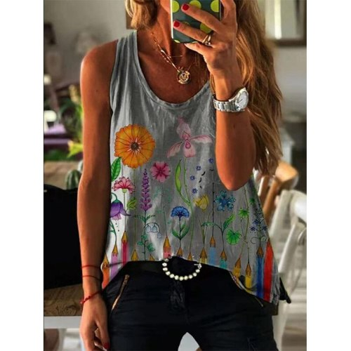 2021 Summer Women's Printed Vest Tops Casual Loose Fashion T-shirt Sleeveless V-neck Cool Tank Tops