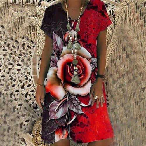 Summer Fashion Rose Print Short-sleeved V-neck Dress Loose Casual Midi Dress  Plus Size Vacation Beach Dress