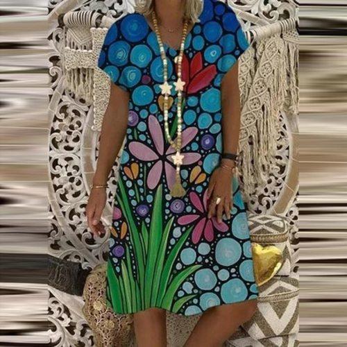 Casual Women Plus Size Short Sleeve V-Neck Printed Dresses New Ladies Fashion Loose Mini Dress Summer Sundress Dresses Vestidos