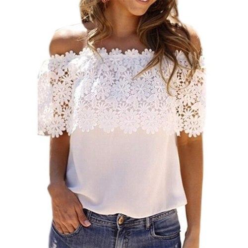 Summer T Shirt Women 2021 Fashion Europe America Women's New Chiffon Lace Stitching T-shirt Burst Women's Vestidos