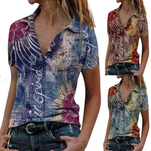 Summer Women's Print Stitching Lapel Short-sleeved Casual Loose-fitting Slim Shirts for Women Blusas Mujer De Moda 2020 Verano