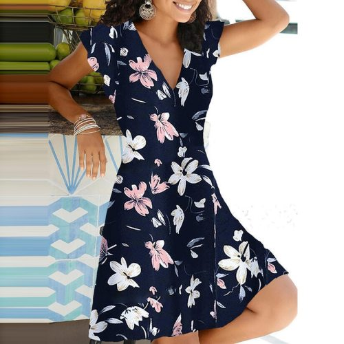 Spring Summer 2021 New Casual Floral Print V Neck Pullover A-line Dress Fashion Short Sleeves Elegant Office Lady Party Vestidos