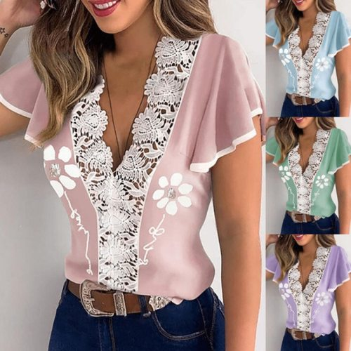 Women's V-neck Lace Printed Ruffle Short Sleeve T-shirt Top Slim Elegant Summer Ladies Shirt  Aesthetic Clothes