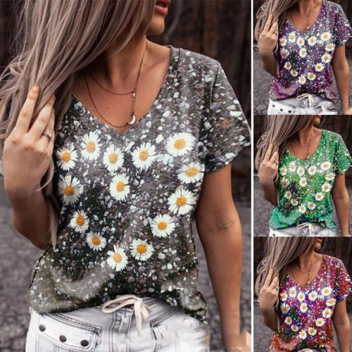 2021 Summer Daisy Print Multicolor V-neck Short-sleeved Fashion Women's T-shirt Loose Casual Style Women's Tops Plus Size S-5XL