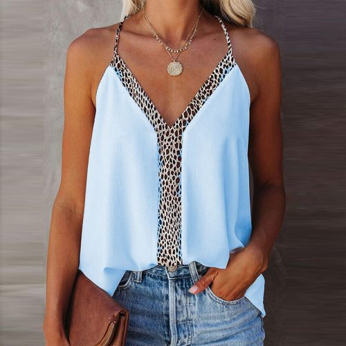 Summer Deep V-neck Sexy Low-cut Strap Leopard Print Top Casual Street Commuter Women's Top Party Date Nightclub Style