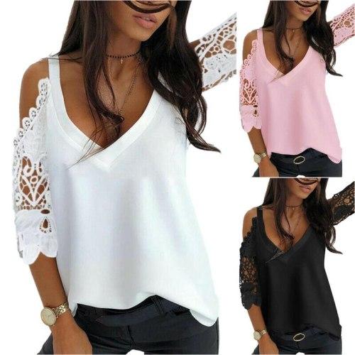White Off Shoulder Top Women Summer T-Shirt 3/4 Sleeve Tops V Neck Blouse Casual T Shirts Women Shirts  Summer Women Clothing
