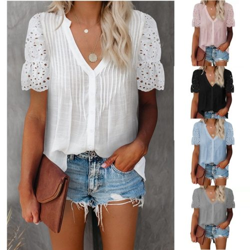 Women V-Neck Top Summer Casual Solid Color Pleated Lace Stitching Short Sleeved Tshirt Elegant Office Loose Hollow Out Clothes