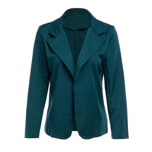 Green Simple Slim Casual Office Blazer 2021 Women Solid Color Buttonless Plus Size Blazer Spring Autumn Fashion Jacket Work Wear