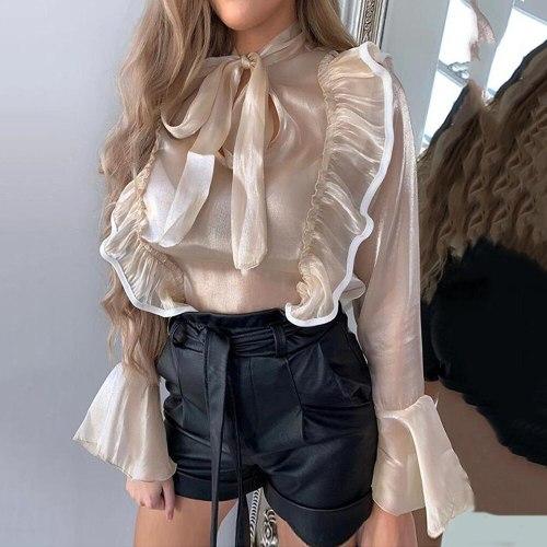Flare Long Sleeve Women Sheer Blouse 2021 Summer Sexy Office Ladies Streetwear Ruffles Shirts Tops Transparent Blouse Female