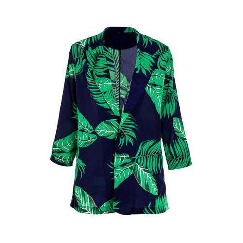 Women Blazer Leaf Printed Green Blazer Coat Three Quarter Sleeve Single Breasted Women's Slim Suit Jacket Autumn 2020
