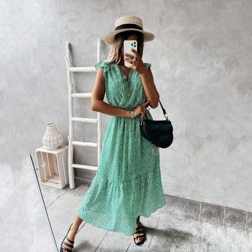 Summer Women Dress Fashion Printed V Neck Loose Lace Up Ruffled Sleeveless Dress 2021 Casual Woman Bohemian Beach Holiday Dress