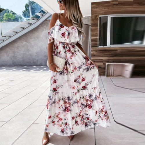2021 Summer Women Elegant Sling Slim Elastic Waist Party Dress Sexy Off Shoulder Loose Beach Dresses Ladies Casual Boho  Dress