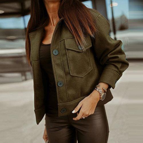 Autumn Winter Short Coat Women Woolen Coat Fashion Long Sleeve Warm Cropped Overcoat Single-breasted Trucker Jacket Outwear