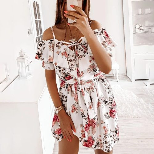 Sexy Spaghetti Strap Beach Off Shoulder Floral Mini Woman Dress 2021 Summer Casual White Ladies Dresses For Women Robe Femme