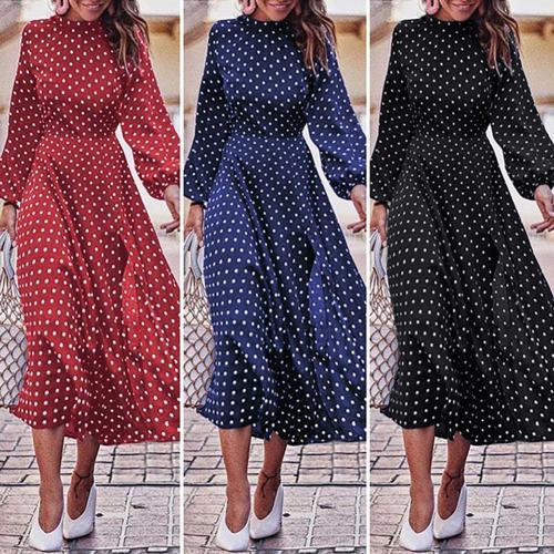 Fashion Women Dress Vintage Long Puff Sleeve Irregular Large Hem Polka Dots Party Midi Dress 2021 Plus Size Casual Loose Dresses