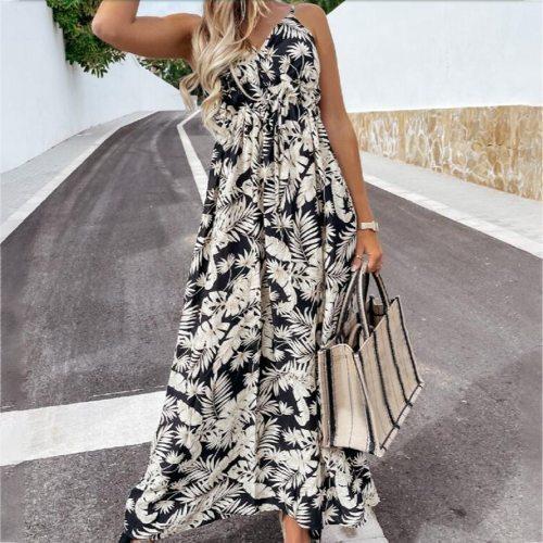 Summer Ladies Elegant Sleeveless Long Dress Sling Coconut Leaf Print Bohemian Style Dress Streetwear 2021 Hot Sale