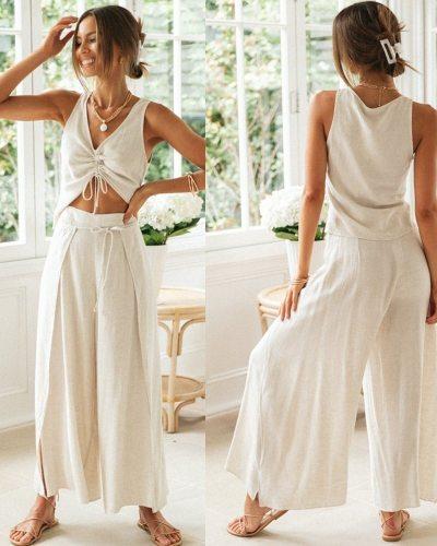 Casual Fashion Two Piece Set Women Cotton Linen Drawstring V Neck Crop Top Split Lace Up Pant Wide Leg Trousers Summer 2021 New