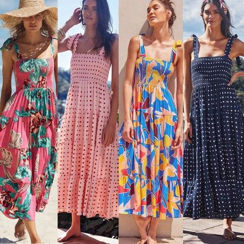 2021 summer new holiday style sling strap printing long dress