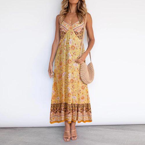 Women Sling Floral Print Long Dresses Female Fashion Boho Sexy V Neck Backless Ruffle Sleeveless Party Beach Ruffle Maxi Dress