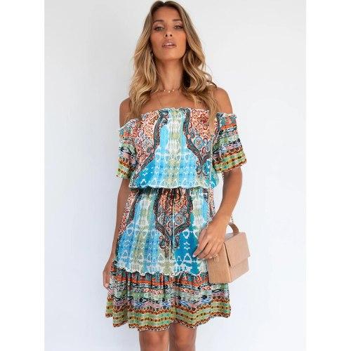 Temperament 2021 New Occident Female's Fashion Print Short Sleeve off-the-shoulder Bohemian Beach Dress Holiday Travel Dress 447