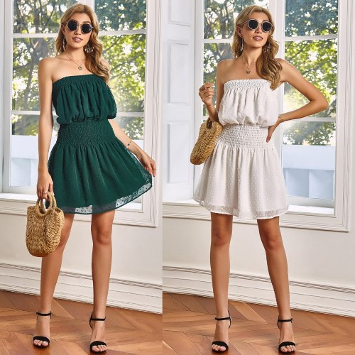 Casual Dresses For Women 2021 Summer Sweet Bohemian Beach Style Chest Wrapping Dress